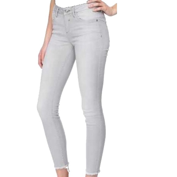 6eaf192418f98 Blue Spice Pants | Icy Grey Distressed Hem Ankle Length Jeggings ...